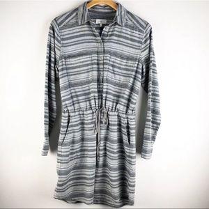 Lou & Grey Striped Dress Drawstring Waist Small